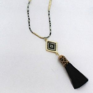 Seed Bead Diamond and Black Thread Tassel Necklace